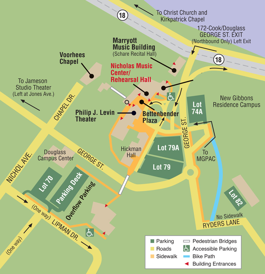 Rutgers Douglass Campus Map.Nicholas Music Center Map